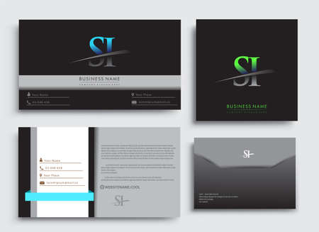 Clean and simple modern Business Card Template, with initial letter SI logotype company name colored blue and green swoosh design. Vector sets for business identity, Stationery Design. Çizim