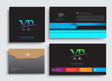 Clean and simple modern Business Card Template, with initial letter YP logotype company name colored blue and green swoosh design. Vector sets for business identity, Stationery Design. Çizim