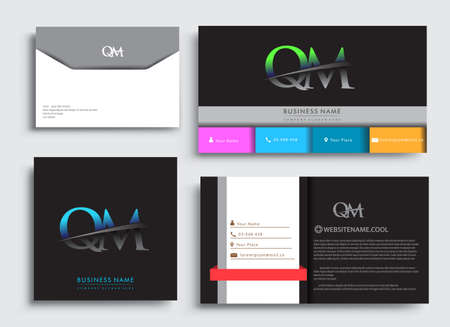 Clean and simple modern Business Card Template, with initial letter QM logotype company name colored blue and green swoosh design. Vector sets for business identity, Stationery Design. Çizim