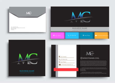 Clean and simple modern Business Card Template, with initial letter MC logotype company name colored blue and green swoosh design. Vector sets for business identity, Stationery Design.