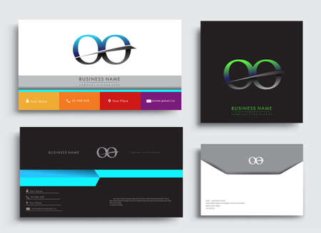 Clean and simple modern Business Card Template, with initial letter OO logotype company name colored blue and green swoosh design. Vector sets for business identity, Stationery Design.