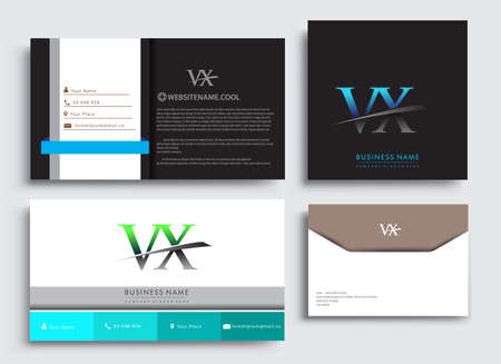 Clean and simple modern Business Card Template, with initial letter VX logotype company name colored blue and green swoosh design. Vector sets for business identity, Stationery Design.