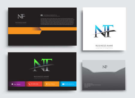 Clean and simple modern Business Card Template, with initial letter NT logotype company name colored blue and green swoosh design. Vector sets for business identity, Stationery Design.