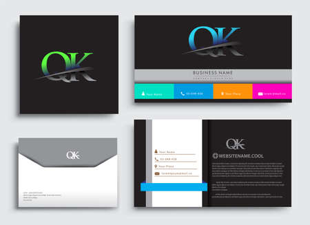 Clean and simple modern Business Card Template, with initial letter QK logotype company name colored blue and green swoosh design. Vector sets for business identity, Stationery Design.