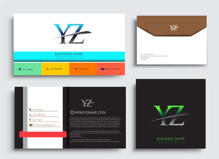Clean and simple modern Business Card Template, with initial letter YZ logotype company name colored blue and green swoosh design. Vector sets for business identity, Stationery Design.