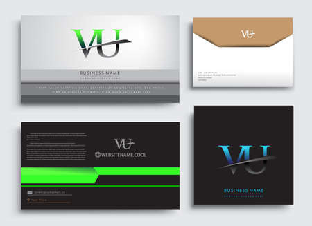 Clean and simple modern Business Card Template, with initial letter VU logotype company name colored blue and green swoosh design. Vector sets for business identity, Stationery Design. Çizim