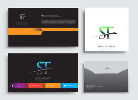 Clean and simple modern Business Card Template, with initial letter ST logotype company name colored blue and green swoosh design. Vector sets for business identity, Stationery Design. Çizim