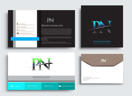 Clean and simple modern Business Card Template, with initial letter PN logotype company name colored blue and green swoosh design. Vector sets for business identity, Stationery Design.