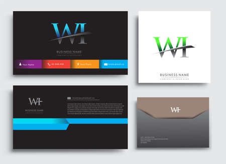 Clean and simple modern Business Card Template, with initial letter WI logotype company name colored blue and green swoosh design. Vector sets for business identity, Stationery Design.