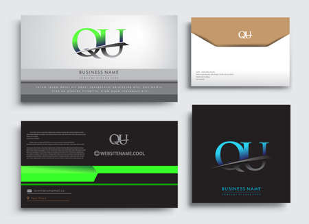 Clean and simple modern Business Card Template, with initial letter QU logotype company name colored blue and green swoosh design. Vector sets for business identity, Stationery Design.