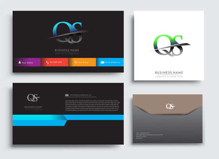 Clean and simple modern Business Card Template, with initial letter QS logotype company name colored blue and green swoosh design. Vector sets for business identity, Stationery Design. Çizim