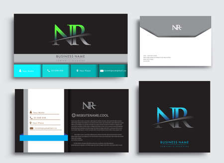 Clean and simple modern Business Card Template, with initial letter NR logotype company name colored blue and green swoosh design. Vector sets for business identity, Stationery Design. Çizim