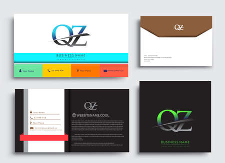 Clean and simple modern Business Card Template, with initial letter QZ logotype company name colored blue and green swoosh design. Vector sets for business identity, Stationery Design.