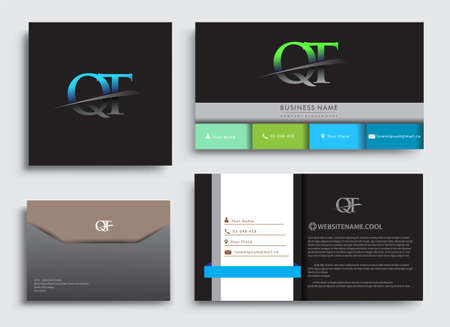 Clean and simple modern Business Card Template, with initial letter QT logotype company name colored blue and green swoosh design. Vector sets for business identity, Stationery Design.