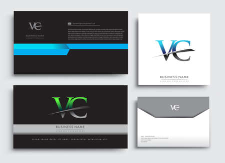 Clean and simple modern Business Card Template, with initial letter VC logotype company name colored blue and green swoosh design. Vector sets for business identity, Stationery Design. Çizim