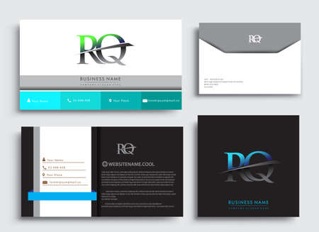Clean and simple modern Business Card Template, with initial letter RQ logotype company name colored blue and green swoosh design. Vector sets for business identity, Stationery Design.