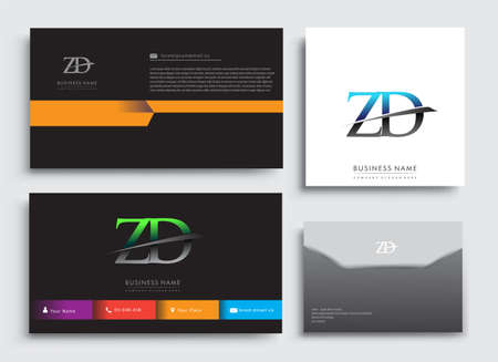 Clean and simple modern Business Card Template, with initial letter ZD logotype company name colored blue and green swoosh design. Vector sets for business identity, Stationery Design. Çizim