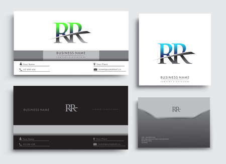 Clean and simple modern Business Card Template, with initial letter RR logotype company name colored blue and green swoosh design. Vector sets for business identity, Stationery Design.