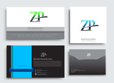Clean and simple modern Business Card Template, with initial letter ZP logotype company name colored blue and green swoosh design. Vector sets for business identity, Stationery Design.