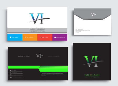 Clean and simple modern Business Card Template, with initial letter VI logotype company name colored blue and green swoosh design. Vector sets for business identity, Stationery Design.
