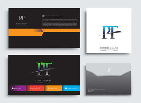 Clean and simple modern Business Card Template, with initial letter PT logotype company name colored blue and green swoosh design. Vector sets for business identity, Stationery Design.