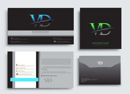 Clean and simple modern Business Card Template, with initial letter VD company name colored blue and green swoosh design. Vector sets for business identity, Stationery Design.