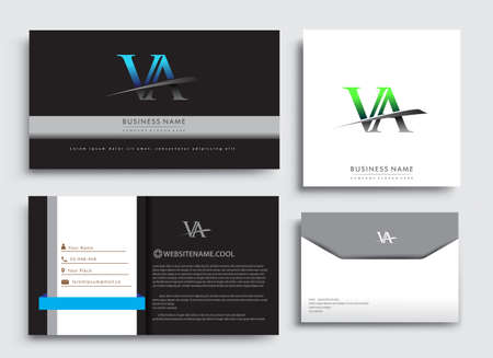 Clean and simple modern Business Card Template, with initial letter VA logotype company name colored blue and green swoosh design. Vector sets for business identity, Stationery Design.
