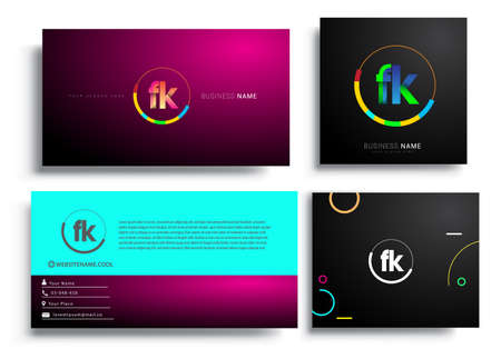 Letter FK logotype with colorful circle, letter combination logo design with ring, sets of business card for company identity, creative industry, web, isolated on white background.
