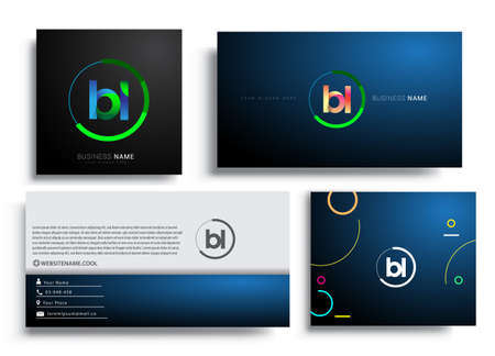 Letter BL logotype with colorful circle, letter combination logo design with ring, sets of business card for company identity, creative industry, web, isolated on white background.
