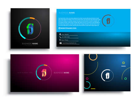 Letter FJ logotype with colorful circle, letter combination logo design with ring, sets of business card for company identity, creative industry, web, isolated on white background.