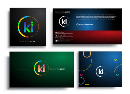 Letter KI logotype with colorful circle, letter combination logo design with ring, sets of business card for company identity, creative industry, web, isolated on white background.