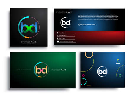 Letter BD logotype with colorful circle, letter combination logo design with ring, sets of business card for company identity, creative industry, web, isolated on white background. Illustration