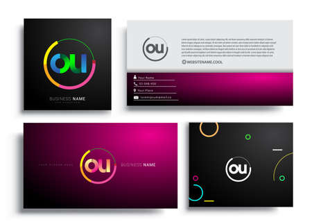 Letter OU logotype with colorful circle, letter combination logo design with ring, sets of business card for company identity, creative industry, web, isolated on white background.