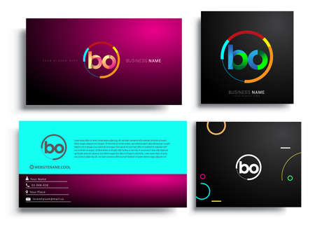 Letter BO with colorful circle, letter combination   design with ring, sets of business card for company identity, creative industry, web, isolated on white background.