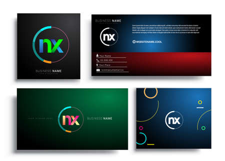 Letter NX logotype with colorful circle, letter combination logo design with ring, sets of business card for company identity, creative industry, web, isolated on white background.