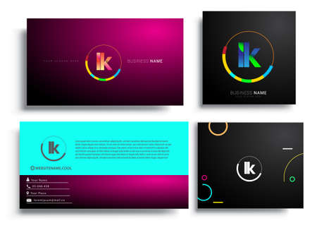 Letter LK logotype with colorful circle, letter combination logo design with ring, sets of business card for company identity, creative industry, web, isolated on white background. Logo