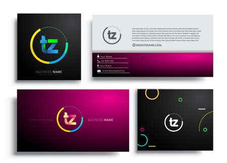 Letter TZ logotype with colorful circle, letter combination logo design with ring, sets of business card for company identity, creative industry, web, isolated on white background. Logó