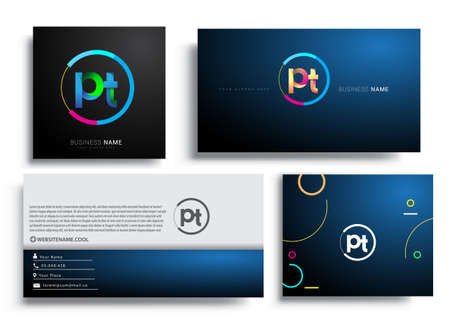 Letter PT logotype with colorful circle, letter combination logo design with ring, sets of business card for company identity, creative industry, web, isolated on white background.