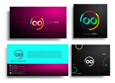 Letter OO logotype with colorful circle, letter combination logo design with ring, sets of business card for company identity, creative industry, web, isolated on white background.