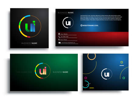 Letter UI logotype with colorful circle, letter combination logo design with ring, sets of business card for company identity, creative industry, web, isolated on white background.