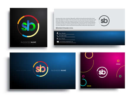 Letter SB logotype with colorful circle, letter combination logo design with ring, sets of business card for company identity, creative industry, web, isolated on white background.