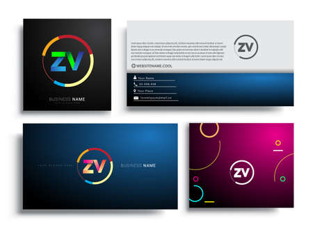 Letter ZV logotype with colorful circle, letter combination logo design with ring, sets of business card for company identity, creative industry, web, isolated on white background.
