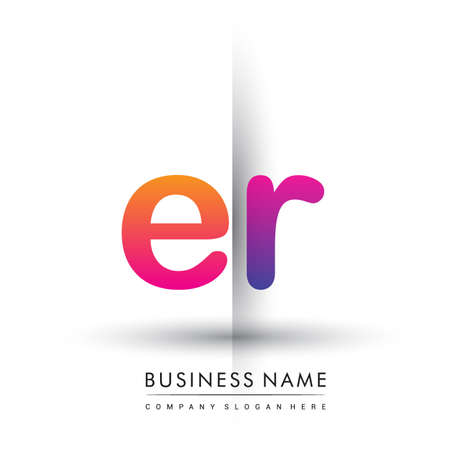 initial logo ER lowercase letter, orange and magenta creative logotype concept. Illusztráció