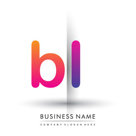 initial logo BL lowercase letter, orange and magenta creative logotype concept. Logó
