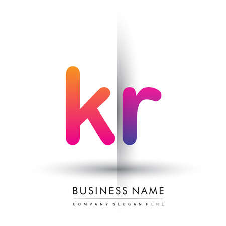 initial logo KR lowercase letter, orange and magenta creative logotype concept.