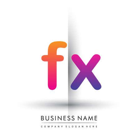 initial logo FX lowercase letter, orange and magenta creative logotype concept.