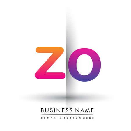initial logo ZO lowercase letter, orange and magenta creative logotype concept.