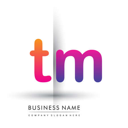 initial logo TM lowercase letter, orange and magenta creative logotype concept.
