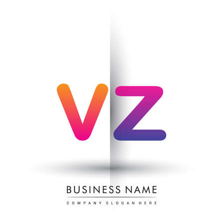 initial logo VZ lowercase letter, orange and magenta creative logotype concept.