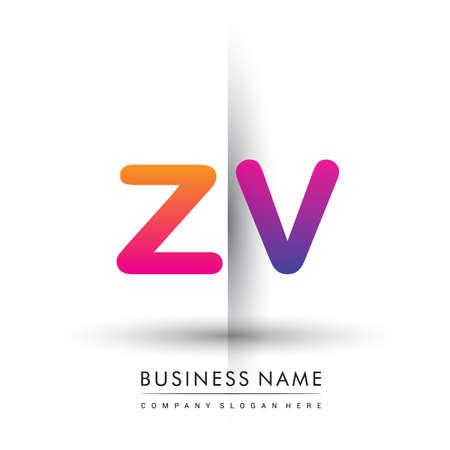 initial logo ZV lowercase letter, orange and magenta creative logotype concept.
